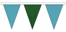 SKY BLUE AND DARK GREEN TRIANGULAR BUNTING - 10m / 20m / 50m LENGTHS